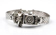 14k White Gold Diamond (1.25 ct) Lace Design Locket Wrist Watch #E