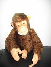 STEIFF Tier Affe Schimpanse Jocko sitzend 25 cm 60er Jahre + Knopf + Fahne