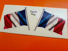 FRENCH Flag & Pole France Motorcycle Van Car Bumper Stickers Decals 2 off 60mm