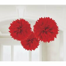 FLUFFY Red Tissue Poms 3 Piece Decoration