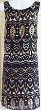 NEW~MONSOON~MALI SHIFT DRESS 10 BROWN BLACK WHITE