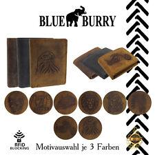 Herren Geldbörse Männer Portemonnaie Blue Burry Lederbörse RFID NFC Portmonee