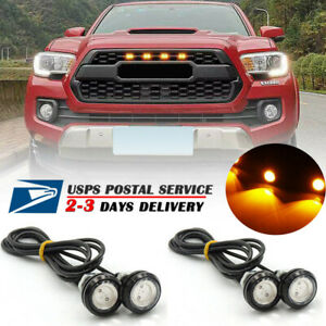 4X Fits Raptor Style Amber Lens Grille LED Lights For Toyota Tacoma 2016-2018
