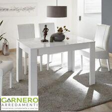 Tavolo MIRO bianco laccato lucido serigrafato 6 posti design sala da pranzo