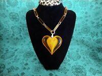 Vintage  Heart Encased In LUCITE Amber Heart Pendant, Long Lucite  Link Chain