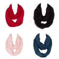 Women's Warm Cotton Infinity Scarf Loop Cowl Neck Plain Wrap Shawl Circle Snood