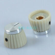 5pcs Cream Volume Control Knob With Silver Top 1 4 For Guitar DIY Amp Parts