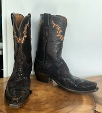 *GORGEOUS!* 1883 LUCCHESE SHAVED STINGRAY & LEATHER EMBROIDERED BOOTS $1200 Sz 8
