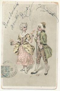 French illustration postcard 1905 - marquis and marquise