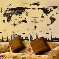 Removable World Map Home Decor DIY PVC Vinyl Art Room Wall Sticker Decal Mural