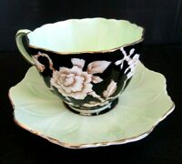 Black Paragon Tea Cup And Saucer Mint Green Double Warrant Teacup and Saucer