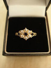 9CT GOLD SAPPHIRE CLUSTER DRESS RING BRAND NEW IN BOX MADE IN ENGLAND