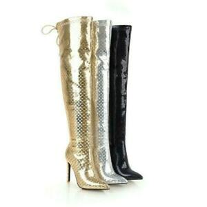 Womens Over-the-Knee Boots Stiletto Zip Thigh High Boots Party Stiletto Shoes Sz