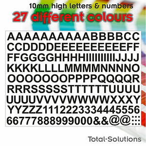 10mm Self Adhesive Vinyl Letters / Lettering and Numbers - Just Peel & Stick
