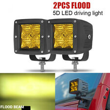 3inch LED Work Light Cube Pods 5D Amber Driving 24W Flood OffRoad Bumper SUV ATV