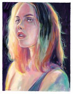 original painting 25 x 32 cm 324VE art samovar acrylic modern female portrait
