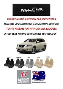 Sheepskin Car Seat Covers to fit Nissan Pathfinder , Airbag Safe, 5 Colours 30mm