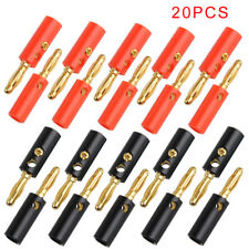 20 Pezzi Spinotti Connettore Spina a Banana Rosso 4mm Speaker Cable Plug Set