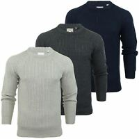 Mens Fisherman Jumper Brave Soul 'Konstantin' Knit Crew Neck Raglan