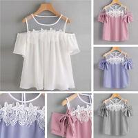 Women Short Sleeve Off Shoulder Lace Floral Striped Blouse Halter Top T-Shirt US