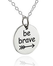 Be Brave Arrow Necklace - 925 Sterling Silver - Round Bravery Pendant Gift NEW