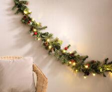 Guirlande de sapin décorative 180 cm avec véritables pommes de pin - Lumineux -