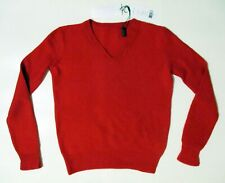Helmut Lang Red Sweater S Cashmere Wool V-Neck Excellent Condition