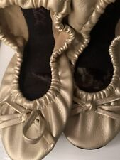 NWT SIDE KICKS HEELIN' GOOD slippers metallic Gold w/bag-SZ: SM 5 - 6.5 Wedding