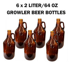 New 6 x 2L(64 OZ) Amber Glass Beer Bottles/Growler in A Box