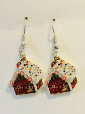 Gingerbread House Christmas Xmas Earrings HANDMADE PLASTIC CHARMS Holiday Baking