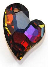 1 SWAROVSKI DEVOTED HEART PENDANT 6261, VOLCANO, 17 MM,CUSTOM COATED