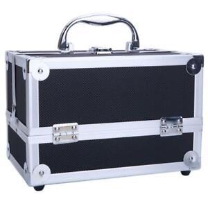 Large Pro Aluminum Makeup Train Case Jewelry Box Cosmetic Organizer Black New