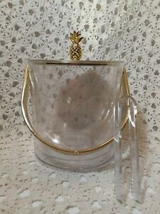 Acrylic Ice Bucket Clear And Gold With Tongs Gold Pineapple SPRITZ