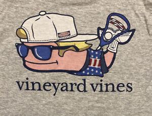 Vineyard Vines Boys Lacrosse Whale Pocket T-shirt/Tee Gray Size S (8-10)