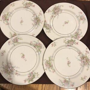 "SET OF 4 - Theodore Haviland New York Apple Blossom China Dinner Plates 10"""