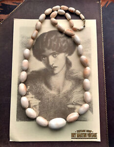 ANTIQUE VICTORIAN CARVED ANGEL SKIN TRADE BEADS NECKLACE 14CT GOLD CLASP RARE