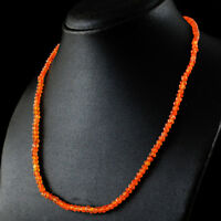 61.50 Cts Natural Untreated Orange Carnelian Round Shape Faceted Beads Necklace