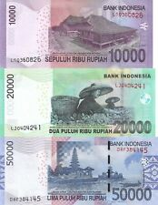 Indonesia 3 Note Set: 10000, 20000 and 50000 Rupiah (2015) - p151 to p153 UNC