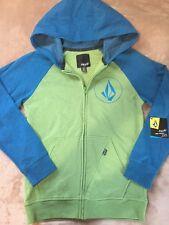 VOLCOM Brand Green / Blue Zip up Hooded Long Sleeve SWEATSHIRT Size M NEW
