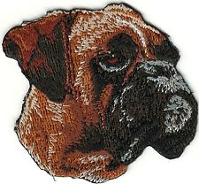 """2"""" x 2 3/8"""" Boxer Dog Breed Portrait Looking Right Embroidery Patch"""