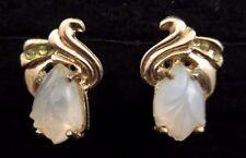 Vintage Antique Molded Glass Rose Flower Clear Rhinestone SB Earrings Gold Tone