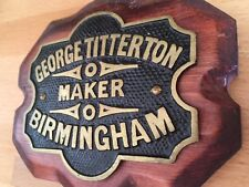 Old Victorian Industrial Cast Brass Sign Plaque George Titterton Birmingham