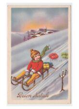 Tarjetas de felicitación 1941 CHIESA d postal'época montaña niña trineo Navidad