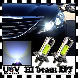 2 x H7 COB LED High Beam 6000K Headlight Bulbs CREE Hyper Cool White Power U3