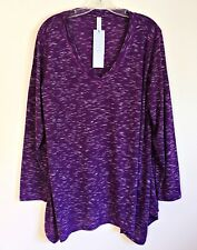 Ideology NEW V-Neck Top Asymmetric Hem Space Dyed Purple White Long Sleeve 1X