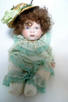 Vintage Bell Ceramics Porcelain Doll 1986 Straw Hat Green Lace Outfit