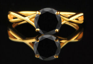 14KT Yellow Gold / 1.85Ct AA Natural Jet Black Diamond Solitaire Women's Ring