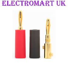 2 X 4MM SPEAKER LOUDSPEAKER GOLD BANANA PLUGS CABLE WIRE SCREW TERMINALS