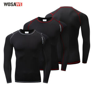 Winter Mens Shirt Cycling Base Layer Thermal Fleece Underwear Biking Jersey Tops