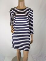 J Crew Jules Striped Silk Dress Size 00 Pockets 3/4 Sleeves Crew Neck Lined